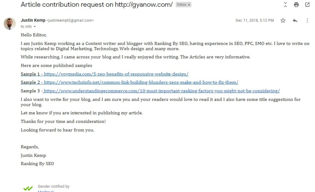 Article contribution request by a freelance blogger