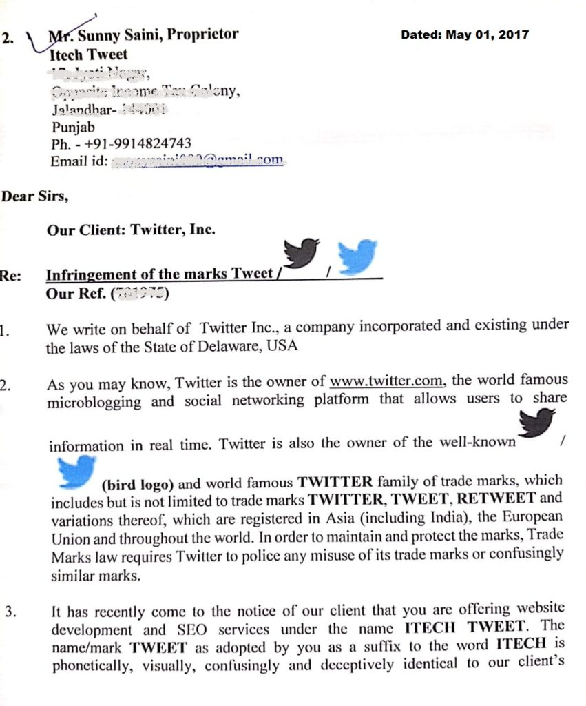 A lawsuit with Twitter Inc USA for my Blog