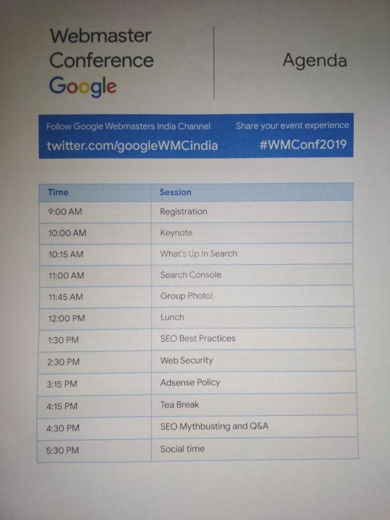 Agenda for Google Webmaster Conference 2019
