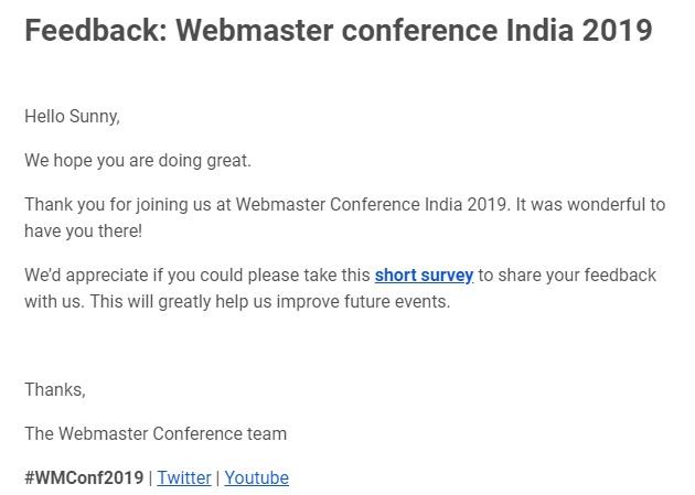 Google Webmaster Conference 2019 Feedback Email