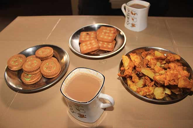 Morning breakfast tea and biscuits