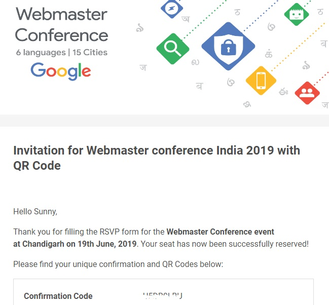 Google Webmaster Conference Invitation 2019