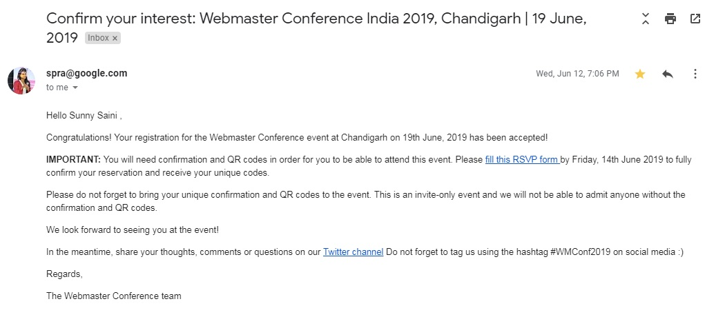 Google Webmaster Conference Invitation Confirmation 2019