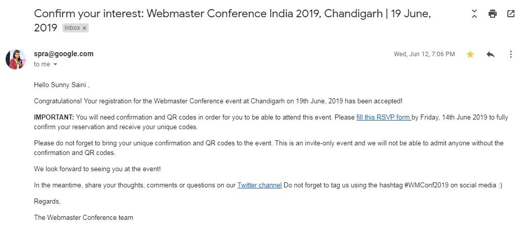 Google Webmaster Conference Invitation Confirmation 2019