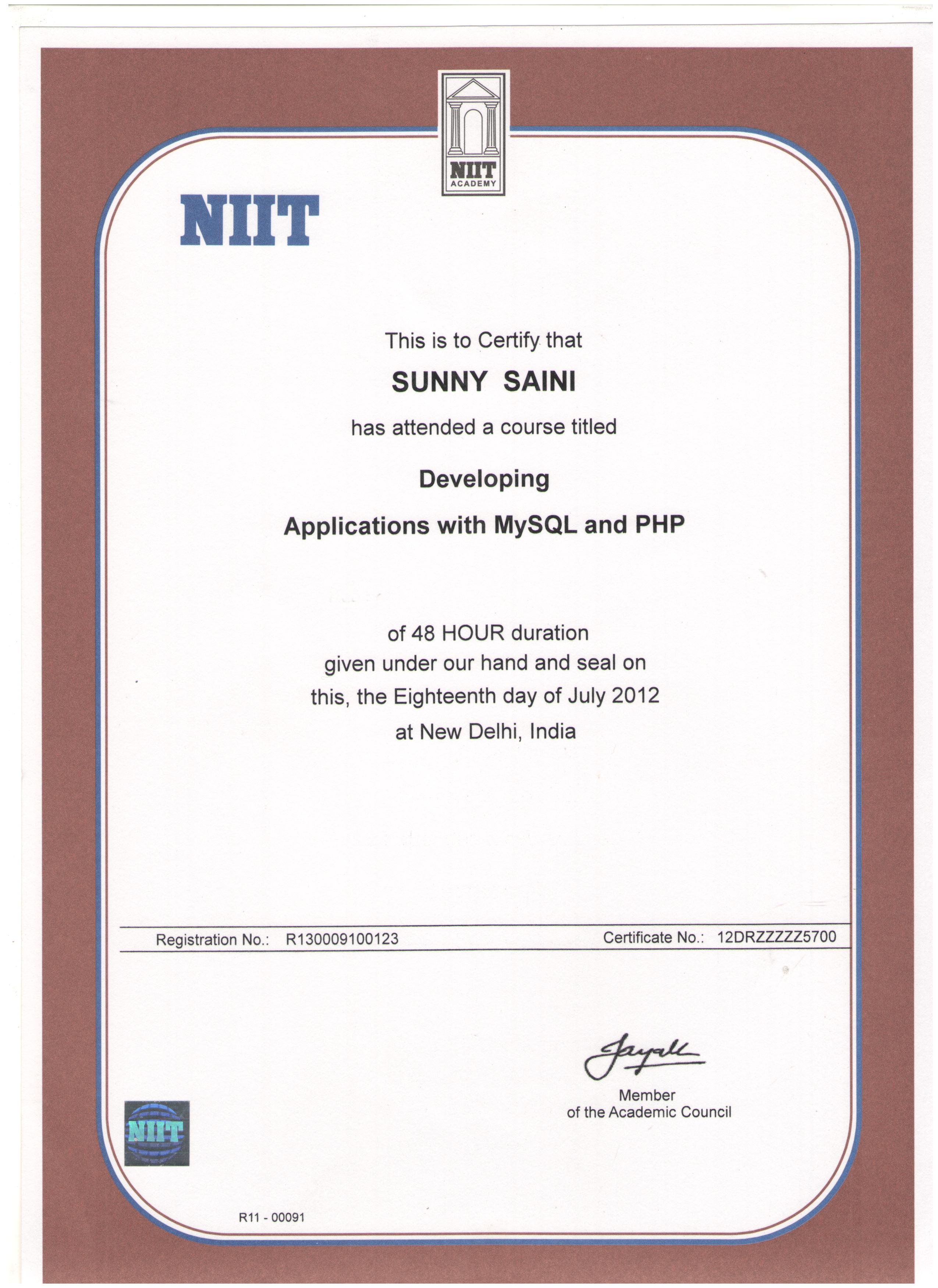 MySQL and PHP Certificate by NIIT