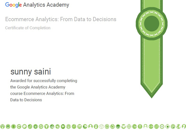 Google Analytics Ecommerce Certificate