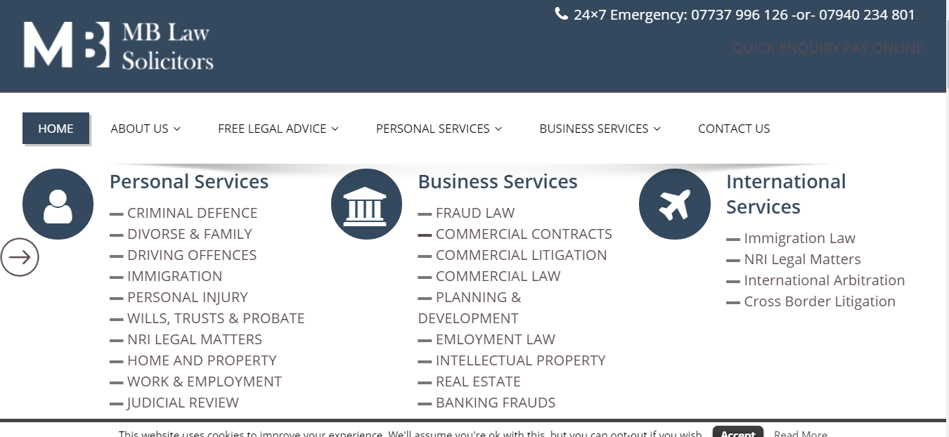 MB Law Solicitors Home Page