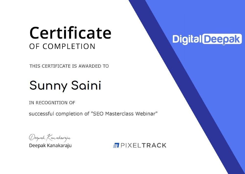 SEO Masterclass Webinar Certification