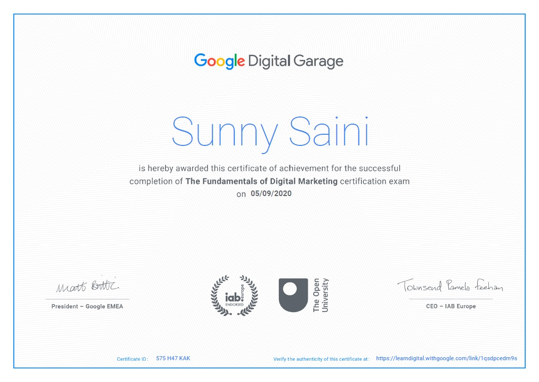 The Fundamentals of Digital Marketing Certification By Google
